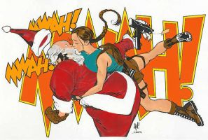 Lara Croft and Santa Claus by Genetix-and-EmptyBox