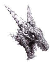 Floating Dragon Head(pen) by B-LIZARD-C