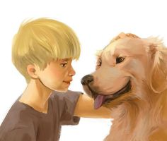 Boy and dog by Adorael
