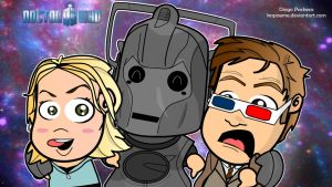 Doctor Who, Rose and Cyberman by kapaeme
