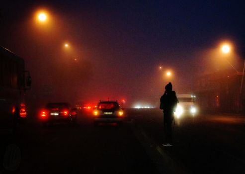 Pedestrian in the mist by AfricanObserver