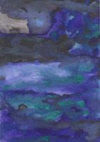ATC watercolor purple and green by crazyruthie