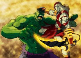 Kratos v. the Hulk by J-Onix