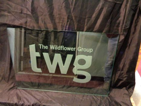 Wildflower Group Etched Glass Logo Wall Art Design by ImaginedGlass