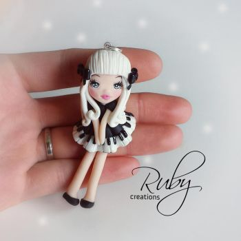 The little pianist, polymer clay doll necklace by Ruby-creations