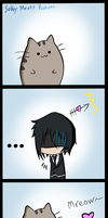 Sebby meets Pusheen by tastes-like-ciel