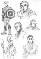 Mini Avengers Sketchdump by chocowaffle