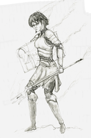 Maddie the Paladine, shaded, WIP by hieronymushoefer
