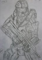 halo 4 master chief sketch by HopeDragon