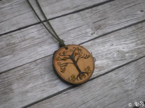 Tree of life - pyrographed wood with peridot by UrdHandicrafts