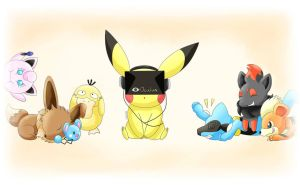 Pokemon: Playing Oculus Rift (Pikachu Riolu etc. ) by ZoruDawn