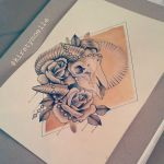 Ram Skull and Roses Tattoo Design (for sale) by kirstynoelledavies