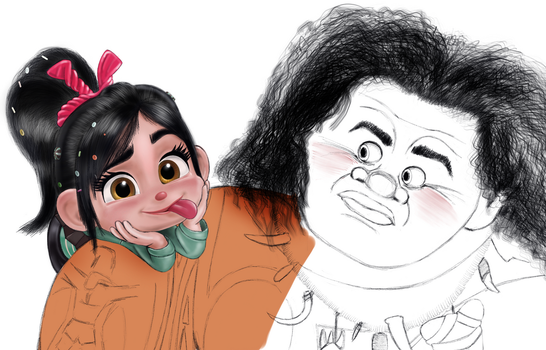 Vanellope and Maui (WIP) by artistsncoffeeshops