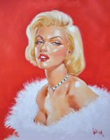 Marilyn oil painting by Elias-Chatzoudis