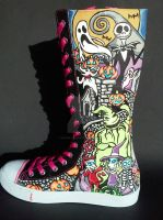 Nightmare Before Christmas Knee High Shoes by rachelliles352