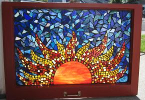 Stained Glass Mosaic Red Sun by reflectionsshattered