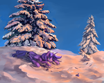 Luna playing in the snow by ilanta