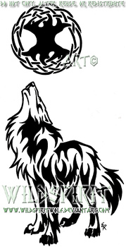 Wolf And Celtic Tree Tattoo by WildSpiritWolf