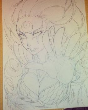 WIP: Diana Dark Valkyrie - League of Legends by rose-92