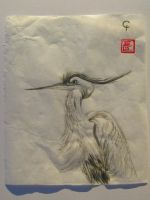 A Great Blue Heron in sumi-e by Iolii