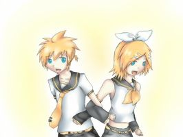 Rin and Len Kagamine KEI style (try) by Vocalizer