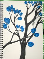 Blue Flowers on many branches by ExcaliburZ