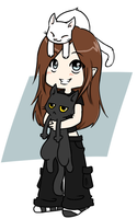 One girl,two cats by Rhireri