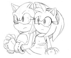 Sonic and Amy sketch by SMSSkullLeader