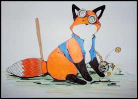 Steampunk Stupid Fox by jlaynaeb