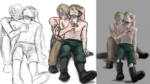Work process: America and Germany by elf-artist87