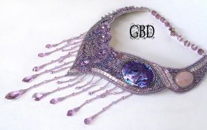 Lilac peacock necklace by gbdreams