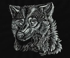 White ink wolf by lupinemoonfeather