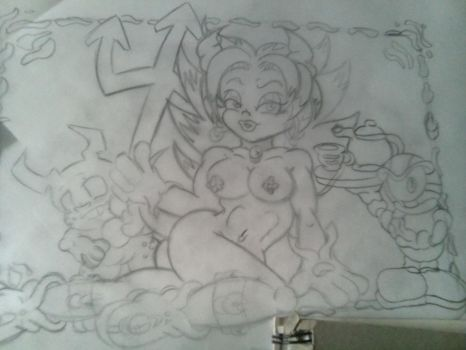 mel with her minions rough sketch by skullpunk666girl