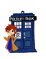 Chibi Doctor and the Tardis Digital by TheCherryGoldfish