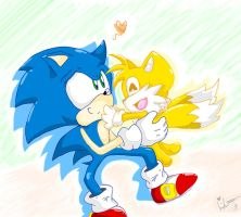 .::Collab::. Chibi Sonic and Tails Love by SilverSonic44