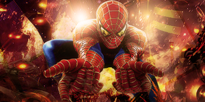 spider-man on fire by Rapstyle95