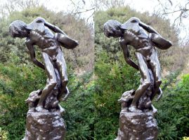 Boy Carrying Egg Meat Attacked By Wolves Bronze by aegiandyad