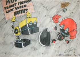 Cubot and Orbot in SPACE by EUAN-THE-ECHIDHOG