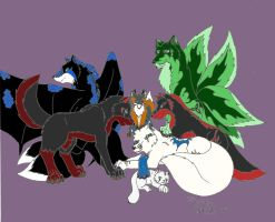 My friends and pack members by sapphire-blackrose