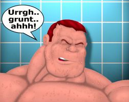 Man In Shower by Blathering