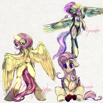 Week 1 / Fluttershy Sketches :P by MyLilPegasister