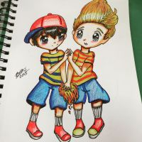 Ness and Lucas by leafyloo