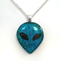 Alien Head Fused Dichroic Glass Pendant by HoneyCatJewelry