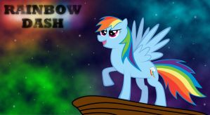 Rainbow Dash Stading on Pride Rock under the Stars by RogerDaily