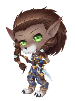 Commission WoW : Chibi Worgen Caithe by Jenova87