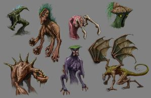 Creature design sketch dump by LOLzitsaduck