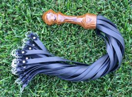 Leather and Bocote with Cogs Flogger #152 by NaamahFeral
