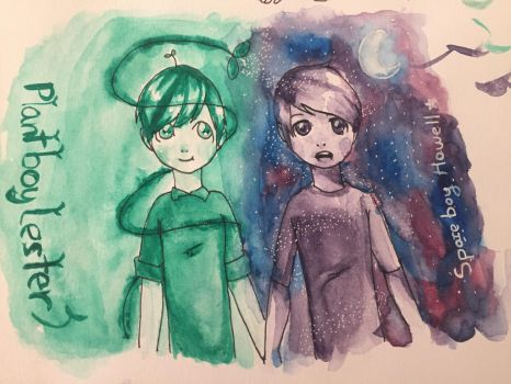 Plant boy Lester and Space Boy Howell by cuppaint