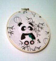 Playful Panda Embroidery Hoop by msmegas