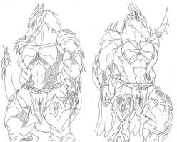 Ryu and Dna Armored UP by werewolfGene